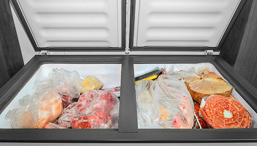 Image of food inside of a deep freezer.