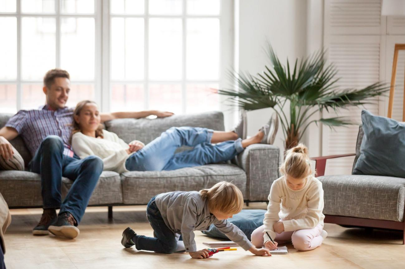 Happy family enjoying their clean home