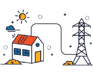 House with electricity tower illustration