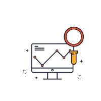 Icon with magnifying glass and monitor showing a line graph