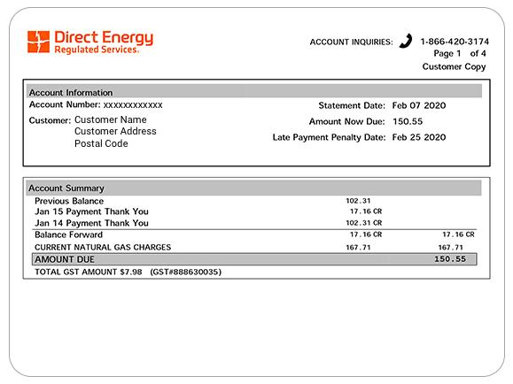 Example of a Direct Energy Regulated account information.