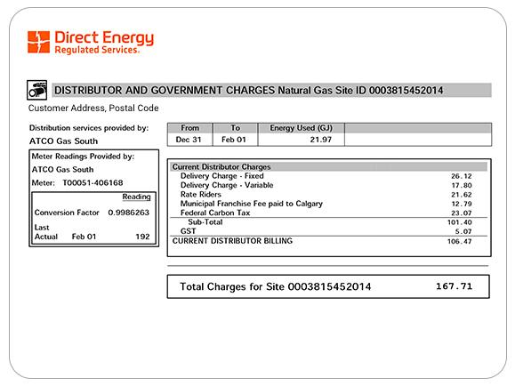 Example of Direct Energy Regulated Services distribution charges.