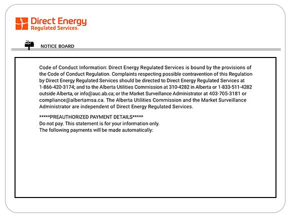 Example of a noticeboard for Direct Energy Regulated Services.