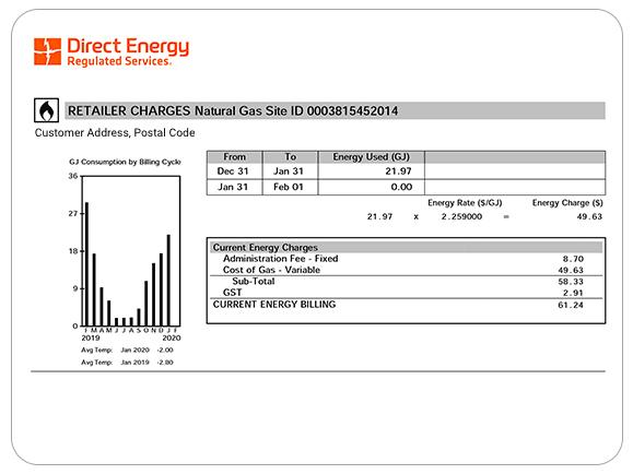 Example of Direct Energy Regulated Services retailer charges.