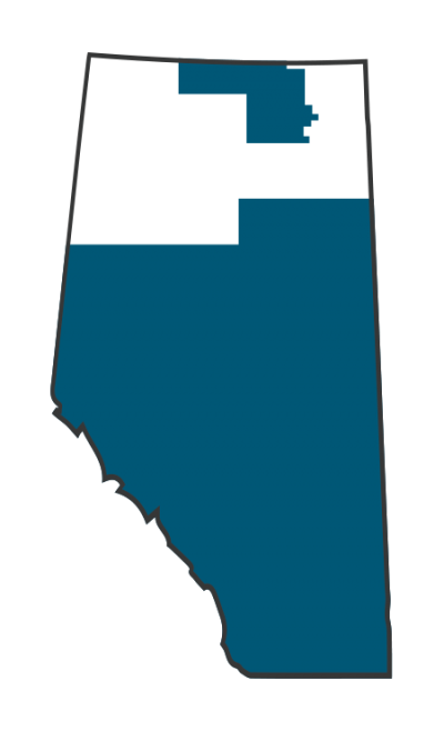 Map of Alberta showing DERS service area